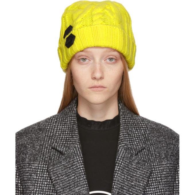 Off-White Bonnet en maille jaune Pop Colour