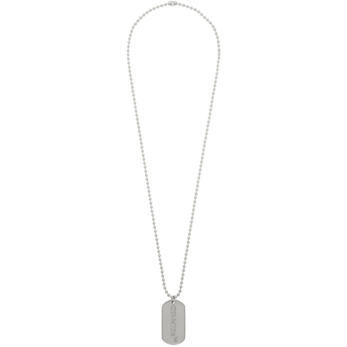 Off White Ssense Exclusive Silver Dog Tag Necklace