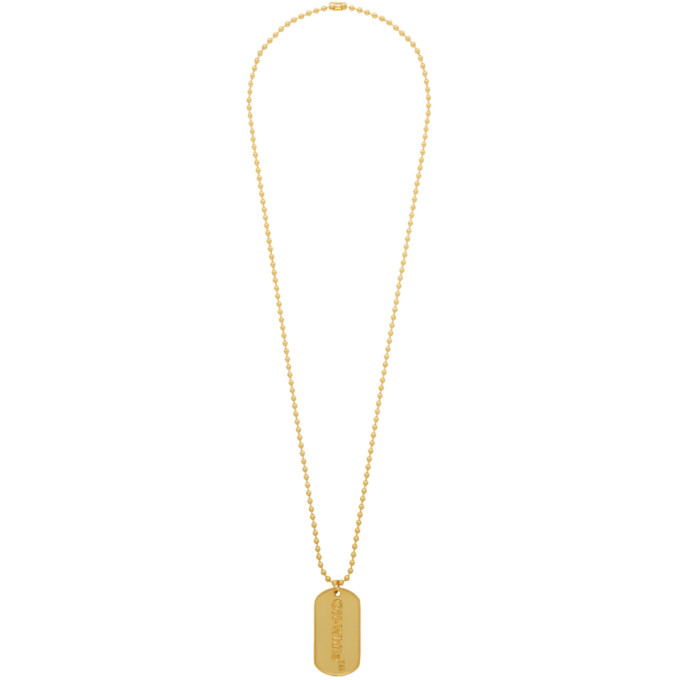 Off White Ssense Exclusive Gold Dog Tag Necklace