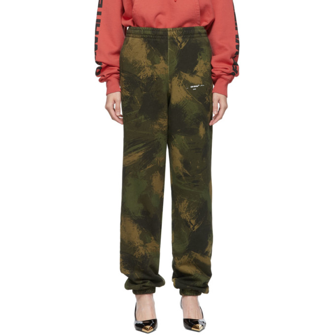 Off-White Green Paintbrush Camouflage Slim Lounge Pants