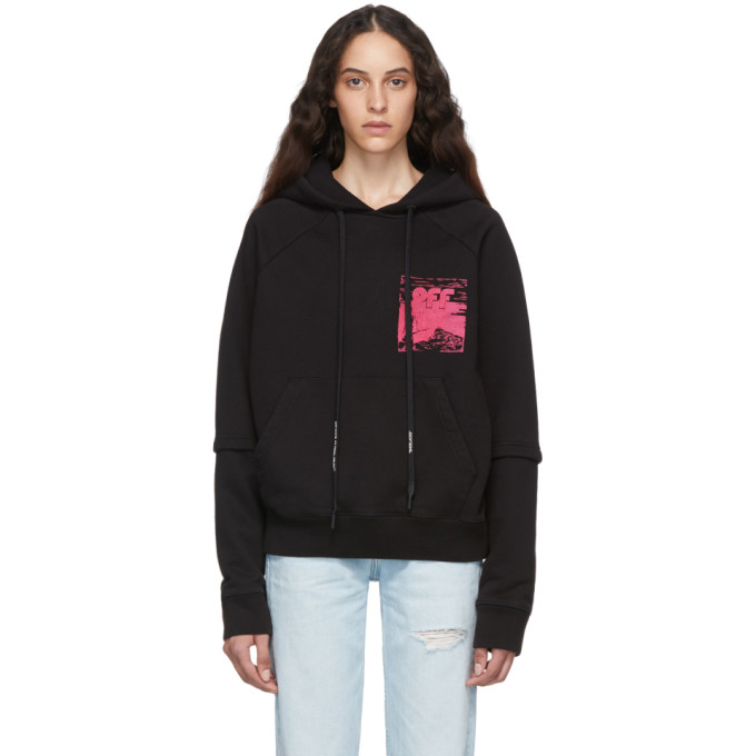 Off-White Black Skull Double Sleeve Hoodie In Blk/Fuchsia