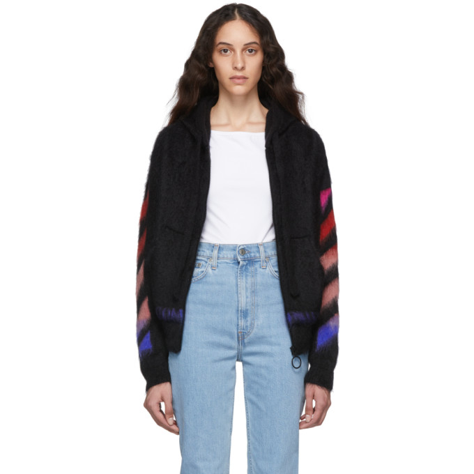 Off-White Black And Multicolor Brushed Mohair Diag Hoodie In Black Multi