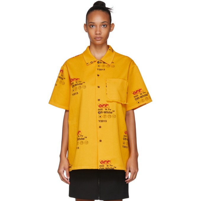 Off-White Chemise a manches courtes jaune Industrial Holiday