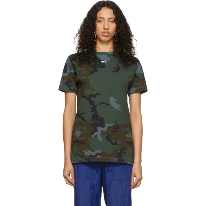 Off-White Chemise a motif camouflage verte Arrows