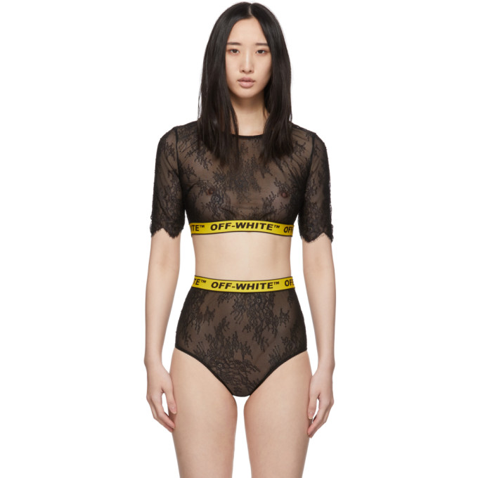 Off-White Ensemble de lingerie en dentelle noir Industrial Crop
