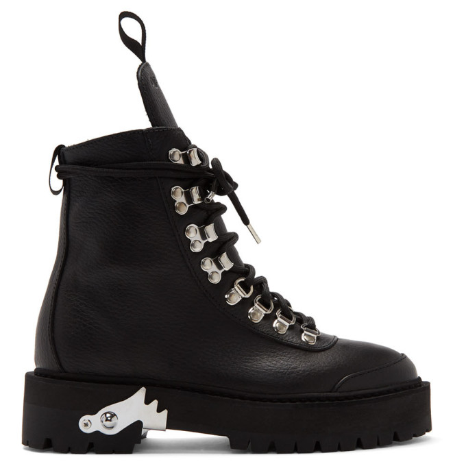 Off-White Black Leather Hiking Boots