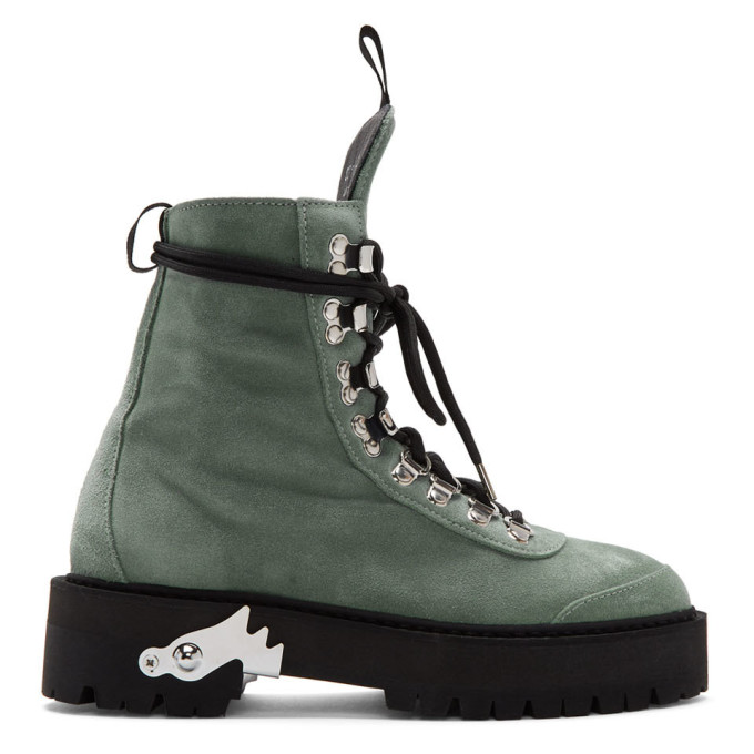 Off-White Green Suede Hiking Boots