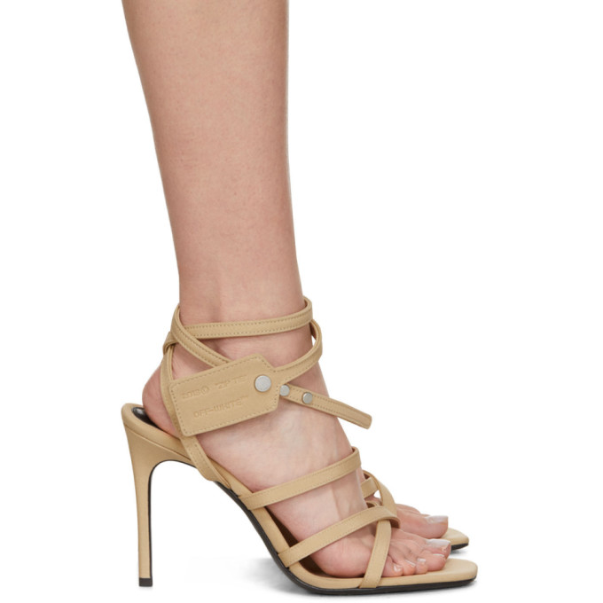 Off-White Beige Satin Zip Tie Sandals