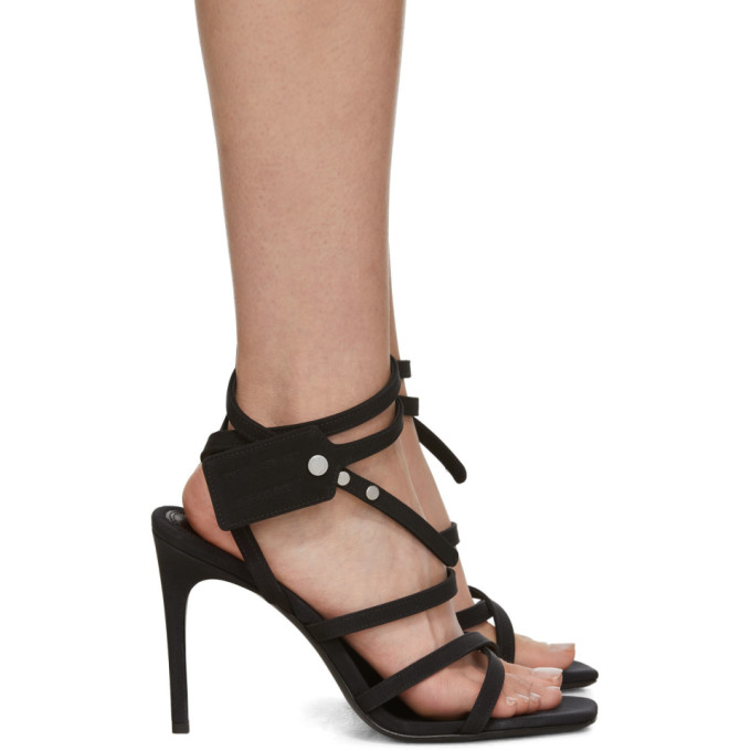 Off-White Black Satin Zip Tie Sandals