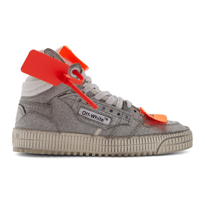 Off-White Silver Glitter Off Court 3.0 High-Top Sneakers