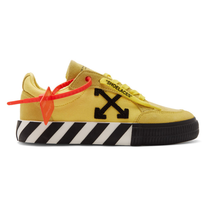 Off-White Yellow Arrow Vulcanized Low Sneakers