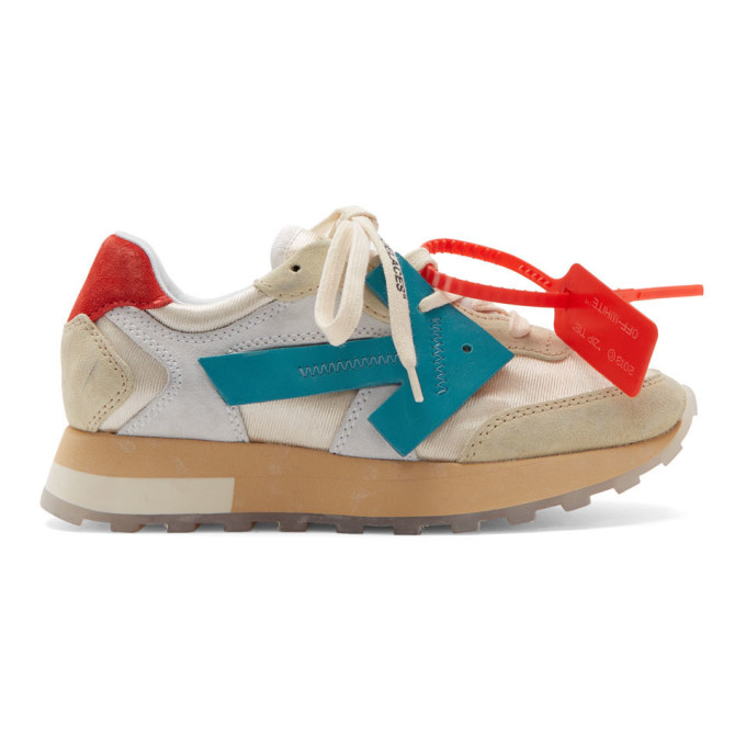 Off-White White and Blue HG Runner Sneakers