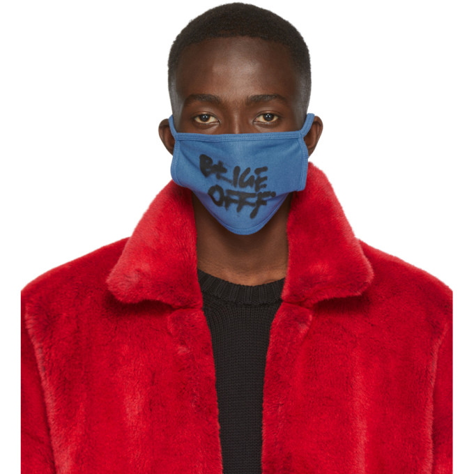 Off-White Blue Spray Typo Mask