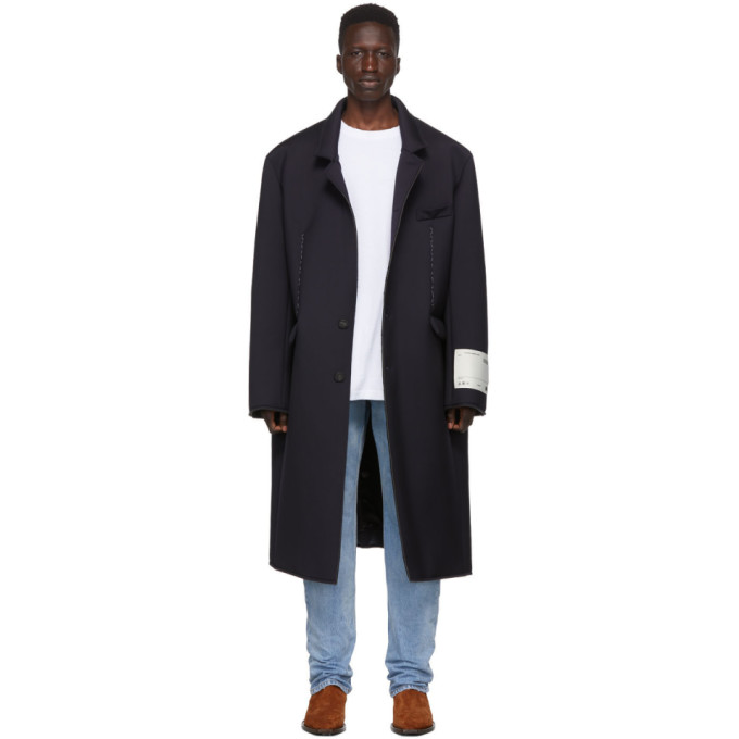 Off-White Navy Wool Volume Coat