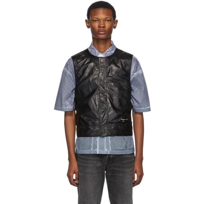 Off-White Black Leather Waistcoat Vest
