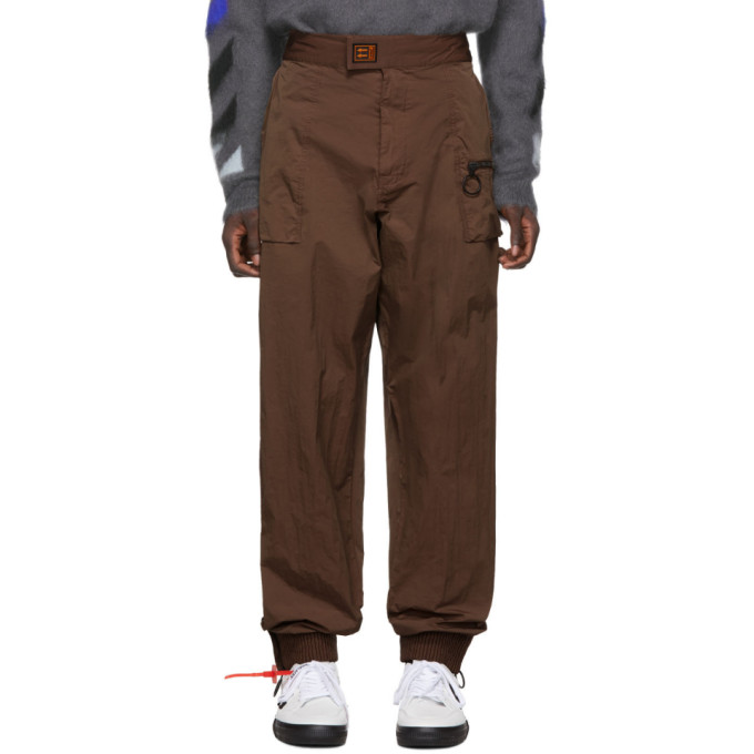 Off-White Brown Nylon Track Pants