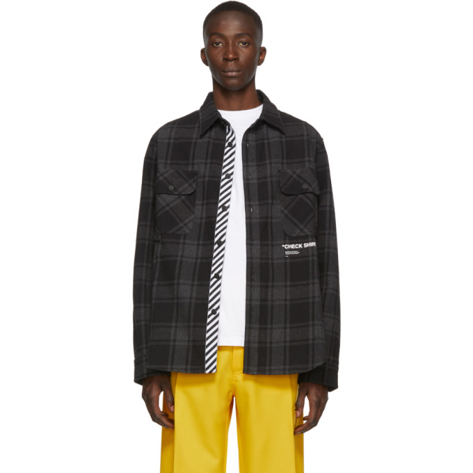 Off-White Chemise en flanelle noire Quote exclusive a SSENSE