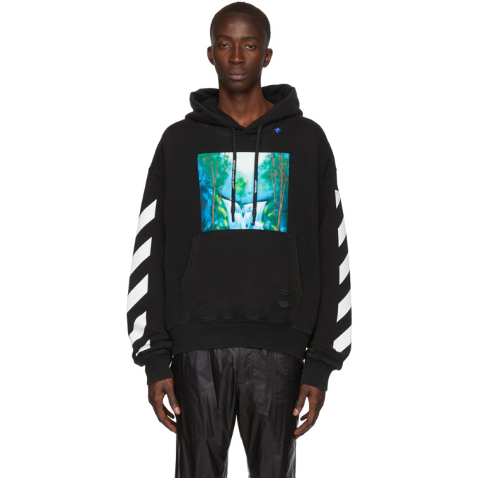 Off-White 0 OFF-WHITE BLACK AND MULTICOLOR WATERFALL HOODIE