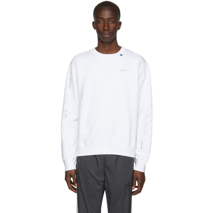 Off-White T-shirts OFF-WHITE WHITE AND SILVER DIAGONAL UNFINISHED SLIM SWEATSHIRT