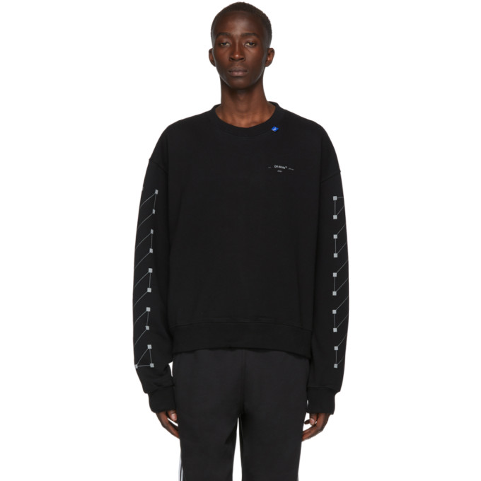 Off-White T-shirts OFF-WHITE BLACK AND SILVER OVERSIZED DIAG BACKBONE SWEATSHIRT