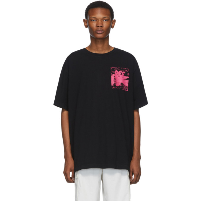 Off-White T-shirts OFF-WHITE BLACK AND PINK OVERSIZED SKULLS FLOATING T-SHIRT