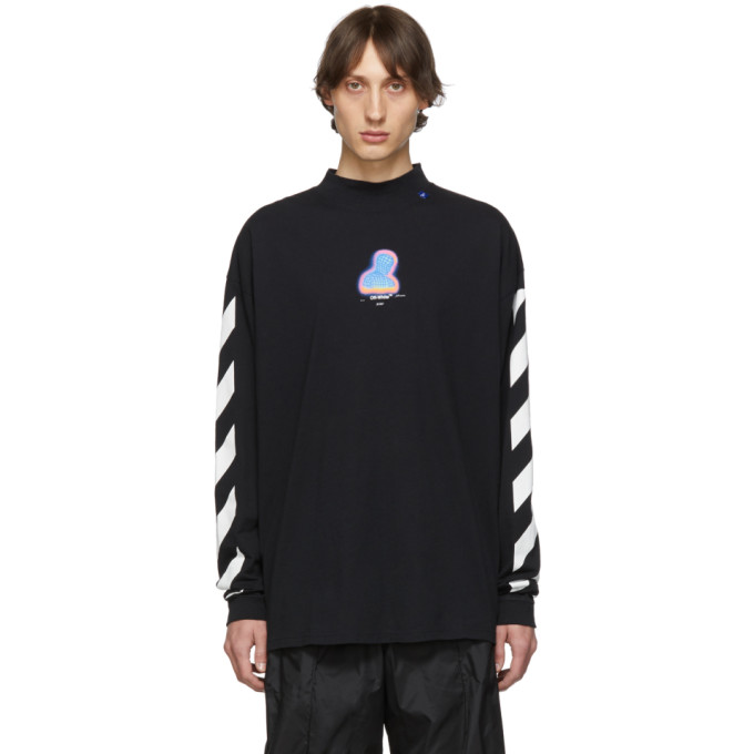 Off-White T-shirts OFF-WHITE BLACK DIAGONAL THERMO MOCK NECK LONG SLEEVE T-SHIRT