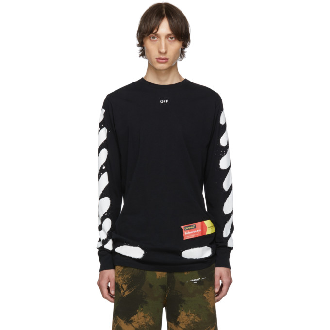 Off-White Tops OFF-WHITE SSENSE EXCLUSIVE BLACK INCOMPLETE SPRAY PAINT LONG SLEEVE T-SHIRT