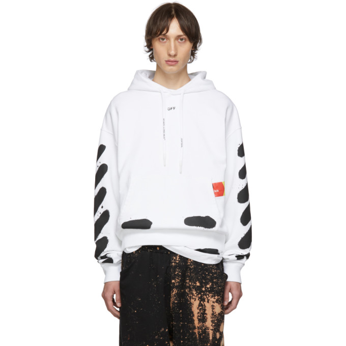 Off-White 0 OFF-WHITE SSENSE EXCLUSIVE WHITE INCOMPLETE SPRAY PAINT HOODIE