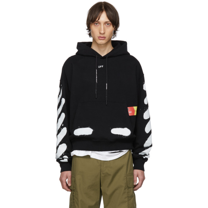 Off-White 0 SSENSE EXCLUSIVE BLACK INCOMPLETE SPRAY PAINT HOODIE