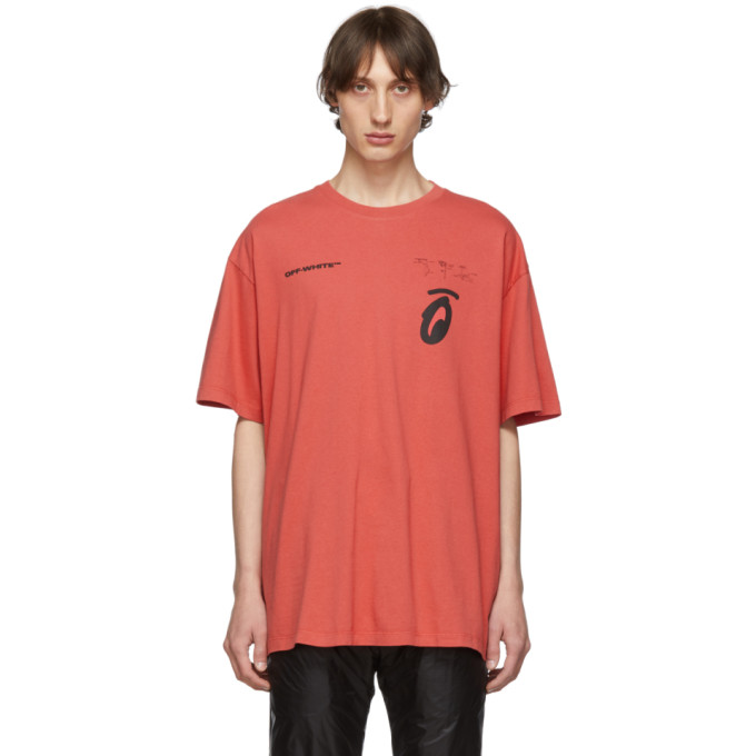 Off-White T-shirts OFF-WHITE RED AND BLACK OVERSIZED SPLITTED ARROWS T-SHIRT