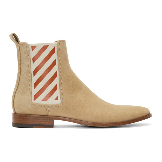 Off-White Beige Chelsea Boots