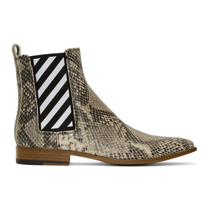 Off-White Off-White Python Chelsea Boots