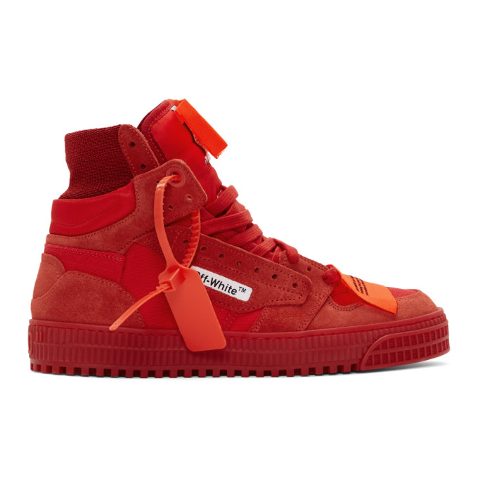 """14dd7ad04c5bc6 Off-White """"Off-Court"""" 3.0 Red Canvas Hi-Top Sneakers In 2000 Rednoc"""