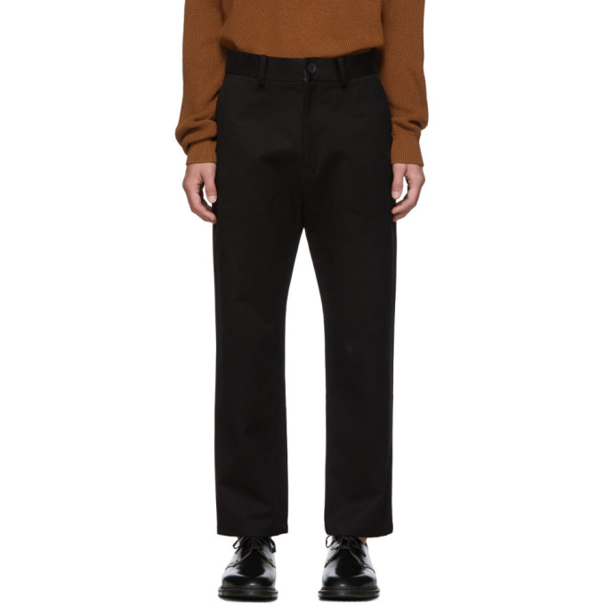 Studio Nicholson Black Tapered Flat Front Trousers