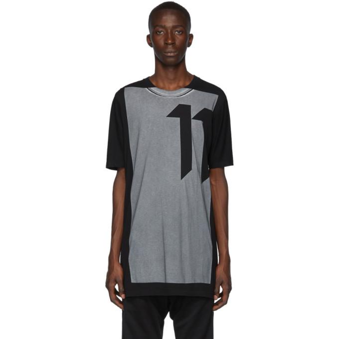 11 by Boris Bidjan Saberi Black Block Printed T Shirt