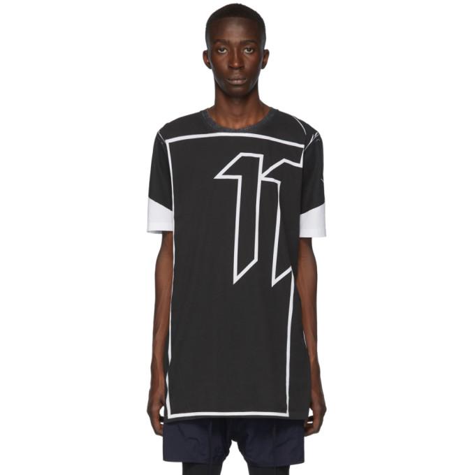 11 by Boris Bidjan Saberi Black and White Block Print Inverse T Shirt