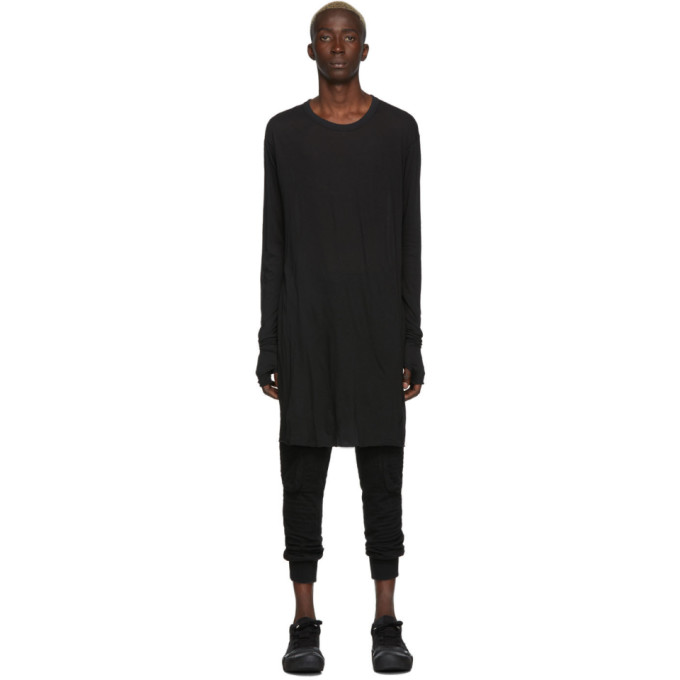 Boris Bidjan Saberi T-shirt a manches longues tisse-teint noir