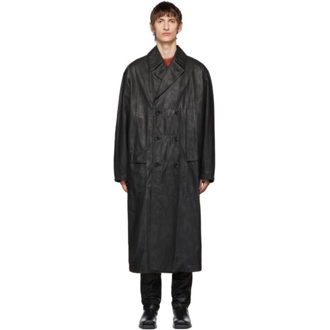 Johnlawrencesullivan Black Oiled Cotton Overcoat