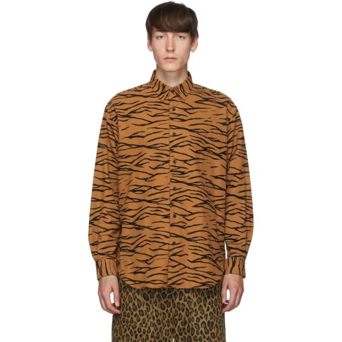 Johnlawrencesullivan Chemise orange et noire Regular Collar Tiger