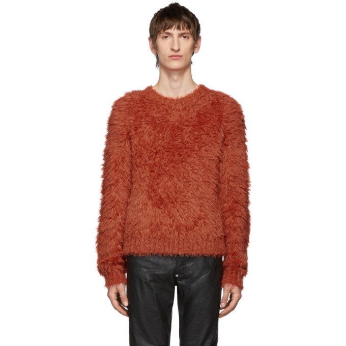 Johnlawrencesullivan Orange Shaggy Crewneck Sweater