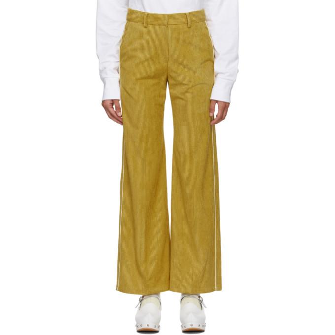 SJYP Pantalon en velours cotele a passepoil jaune