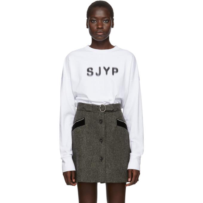 SJYP T-shirt a manches longues et logo blanc