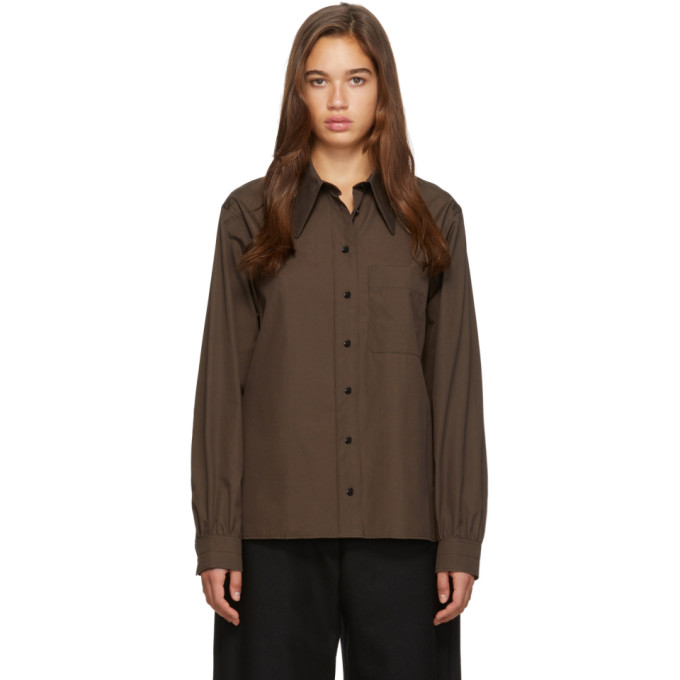 Lemaire Chemise brune Pointed Collar