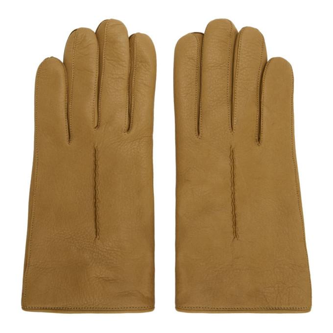 Lemaire Gants en cuir de daim brun clair