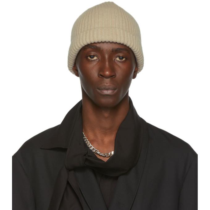 Lemaire Bonnet en maille cotelee de laine beige