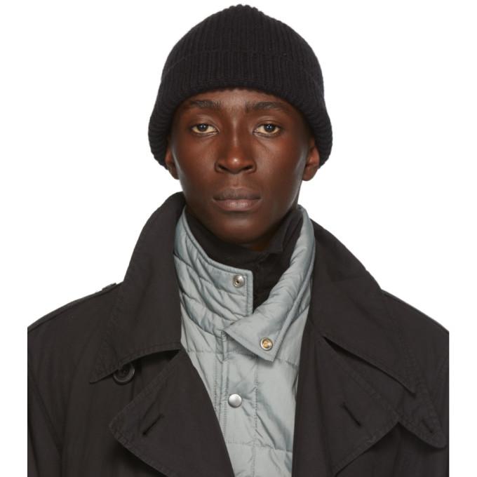 Lemaire Chapeau en maille cotelee de laine noir