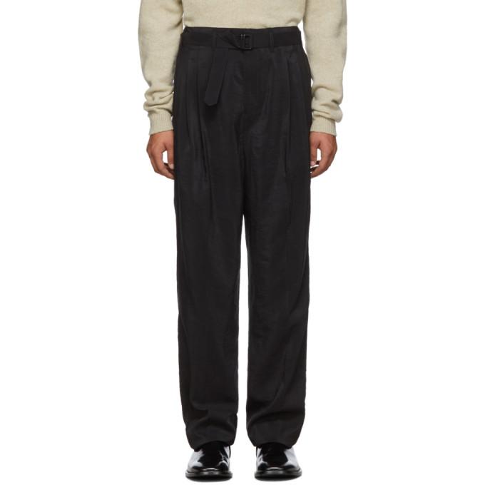 Lemaire Pantalon plisse en soie noir