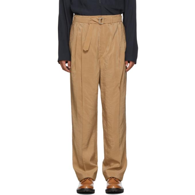 Lemaire Pantalon plisse en soie brun clair