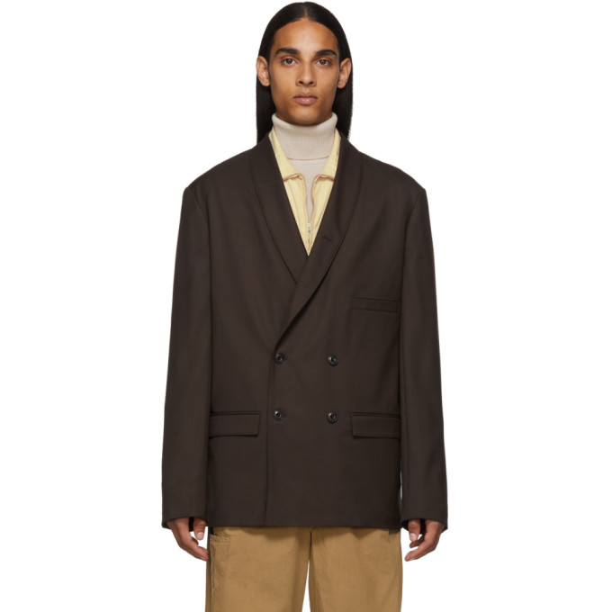 Lemaire Brown Double-Breasted Blazer