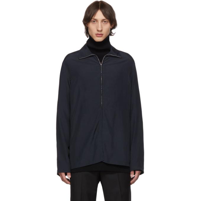 Lemaire ブルー ハイネック ジッパー セーター